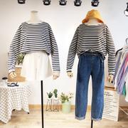 2018秋季韩国东大门条纹T恤ins宽松长袖打底衫大码显瘦女