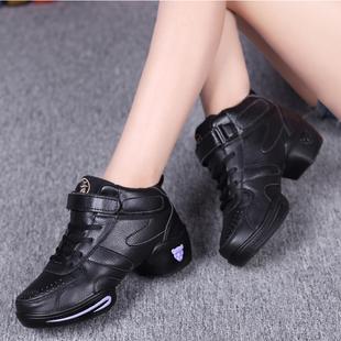 春夏广场舞蹈鞋女软底真皮网面透气增高现代舞蹈鞋女式白色跳舞鞋