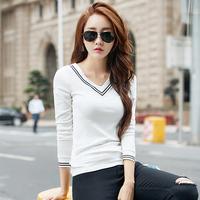 白色T恤女2016秋季新款条纹v领长袖学生小衫修身显瘦韩版打底衫潮