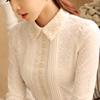 加绒蕾丝打底衫女冬长袖雪纺衫秋季加厚翻领保暖上衣