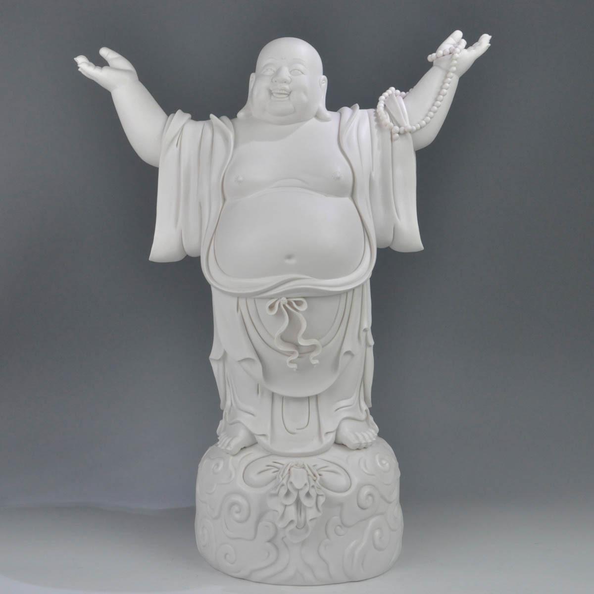 大肚容_10寸大肚容天下弥勒佛纳福陶瓷佛像乔迁家居