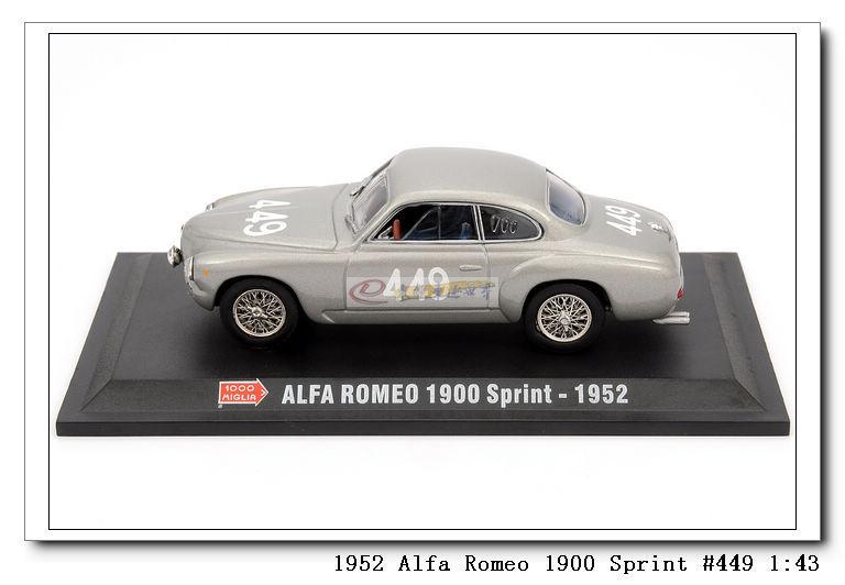 Модель машины 阿尔法罗密欧 alfa romeo 1900 sprint #449 1:43 银色