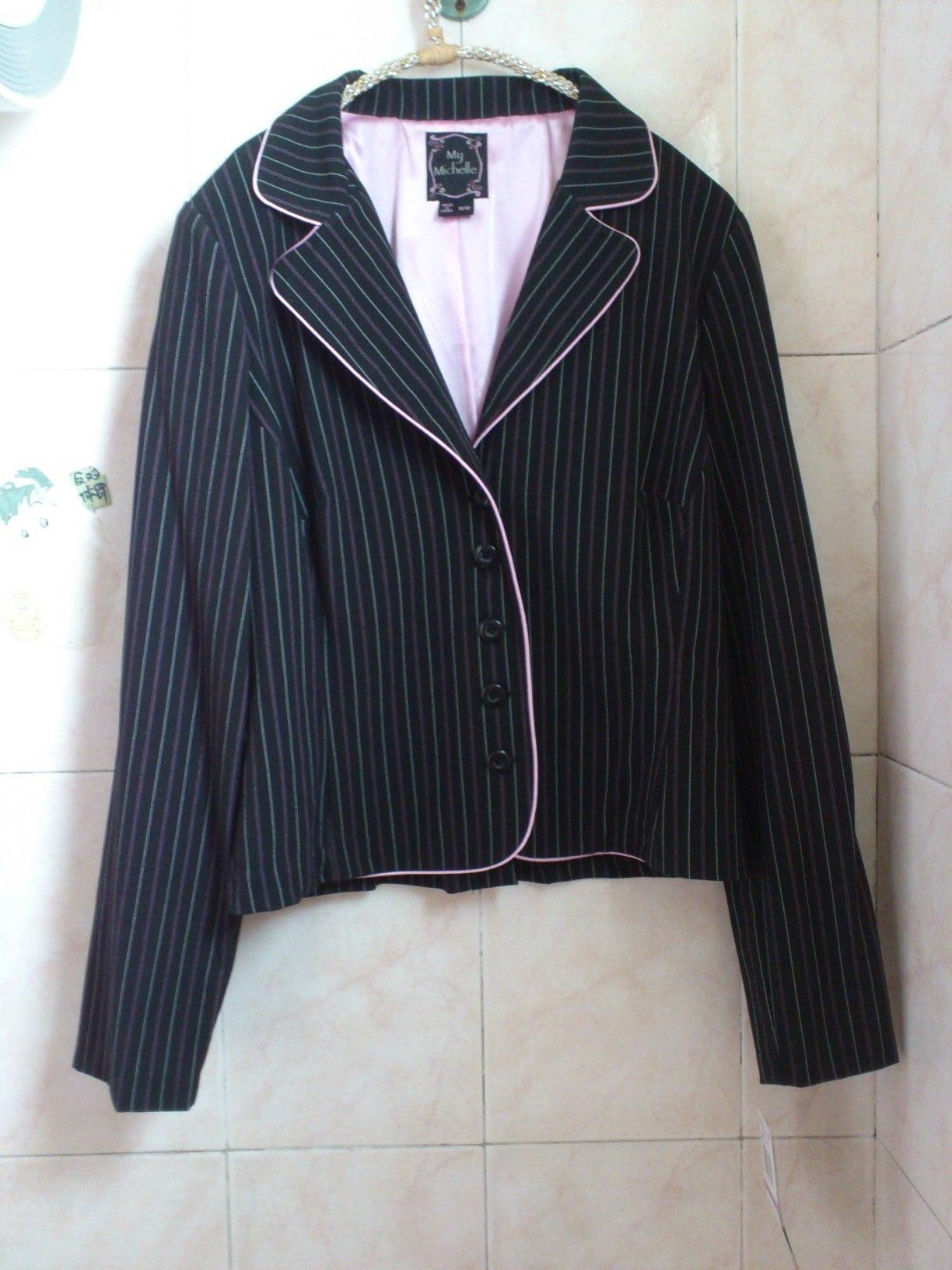 Блэйзер ▲ ▲ Китайская капуста экспортирует за пределами Европы и мой костюм Мишель розовые полосатые лацкан