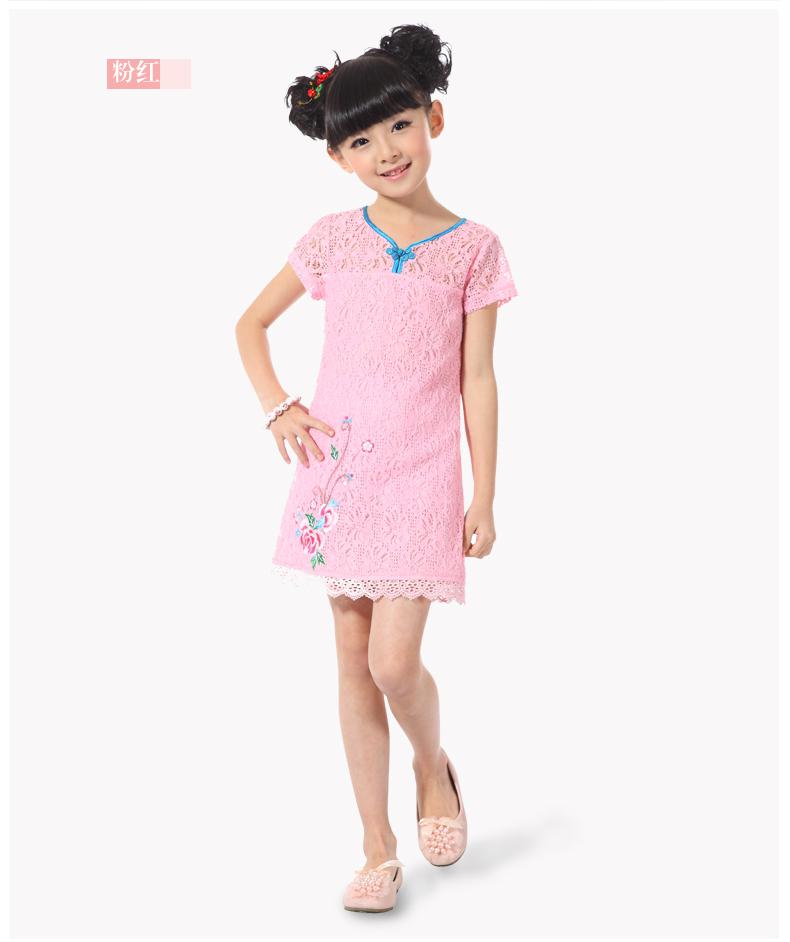 Bubu found the Bubu found 2013 summer new style girls dress China Zhongda boy style embroidery cheongsam dress