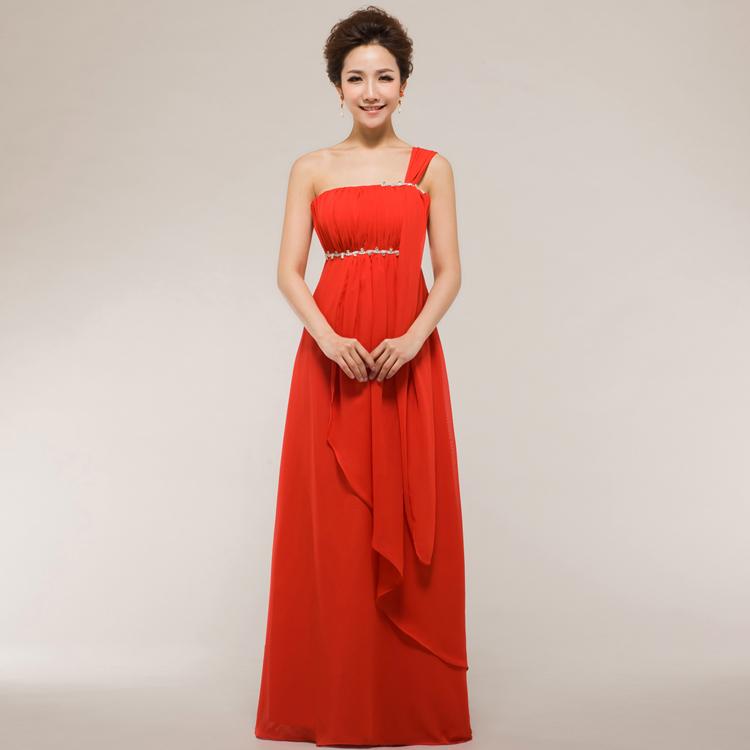 Вечерние платья 2014 корейской версии красных свадьбы невеста невесты тосты сестра вечернее платье шифон длинное платье