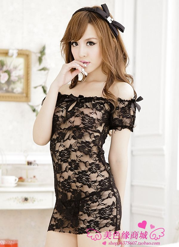 Veegol-HG Lace Sexy Hot Ultra-thin Sheer Solid Women Sexy Pajamas