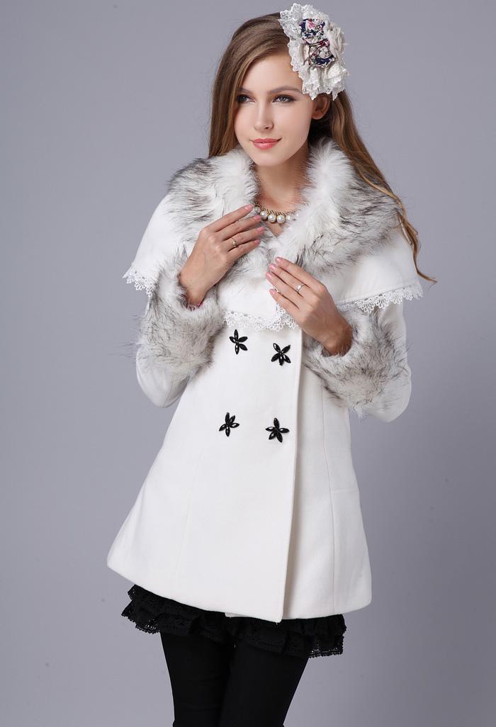 женское пальто Осень/Зима 2013 с новой накидки шерсти пальто длинный мех воротник тонкая талия платок пальто