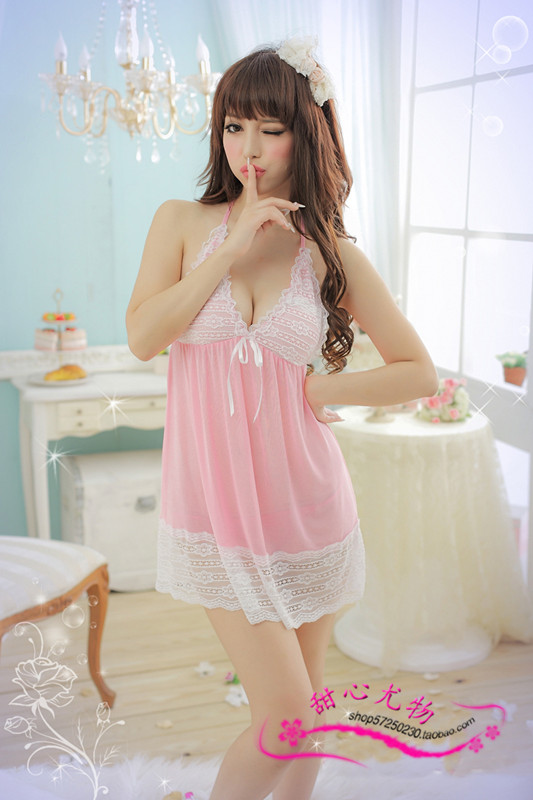 Graceful temptation New graceful seduction sexy sleepwear sexy lingerie lace deep v sweet sexy cleavage transparent skirt suit