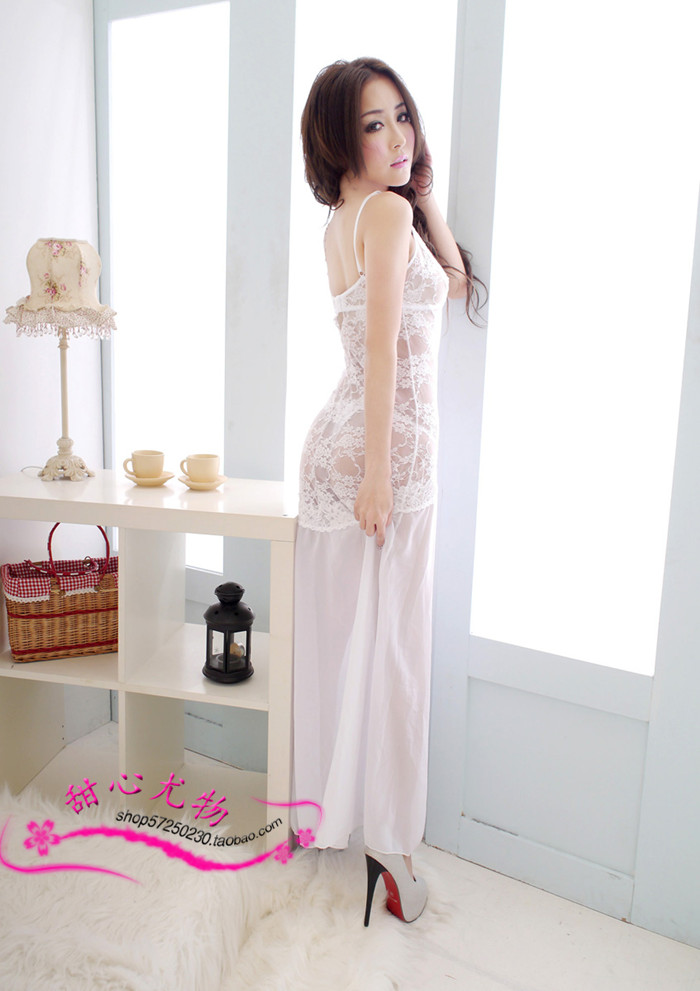 Flowers angel Classic Grenadine Lace Braces Long Women Sleepwear Dress & Thong Set