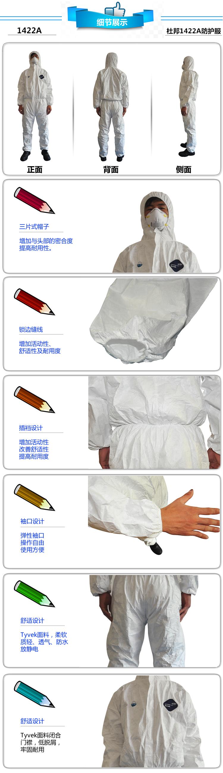 杜邦Tyvek1422A型 防护服 防化服防尘服 医生防化学品服