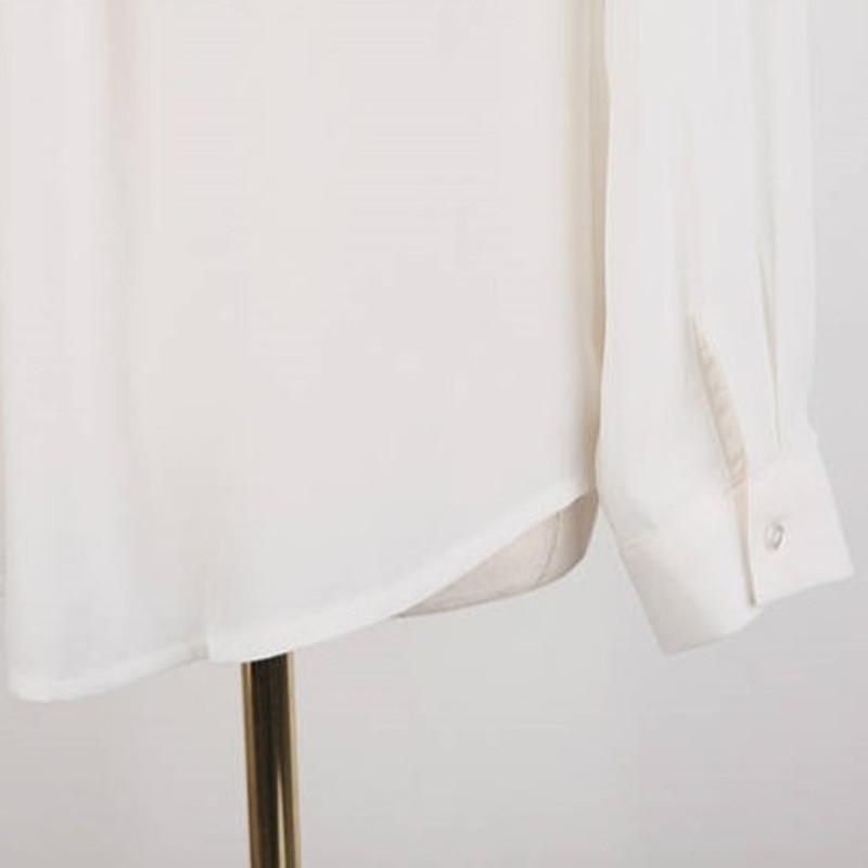 женская рубашка Воротник рубашки белый длинный рукав рубашки шифон женщин с Новый корейский рубашки шифон женщин плюс размер женщин белая рубашка