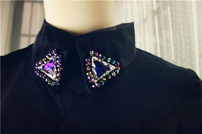 Блузка 2014 весенний цветок воротник сексуальные прозрачные рубашки шифон прорваться через плоть прозрачная сетка шнурка рубашку сверху
