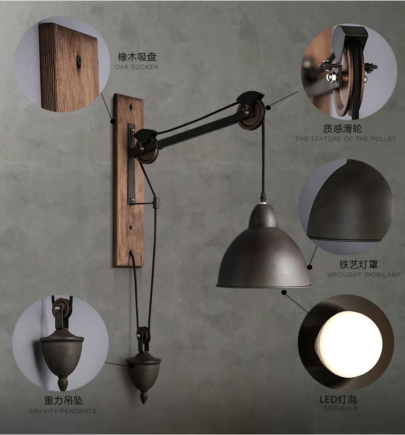 Vintage Pulley Aged Steel Wall Sconce Restoration Lamp Light Fixture New Arrival eBay