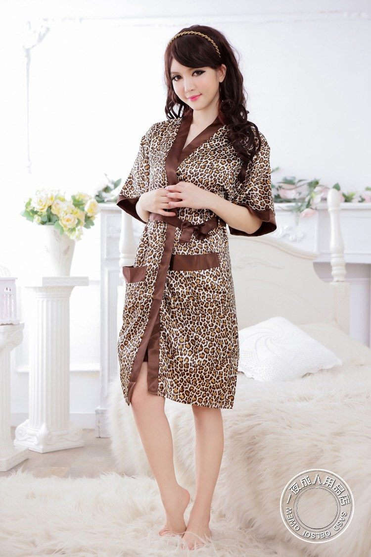 Leopard Silk Like Fabric Tube Top & Night Robe Set 2Pcs Women Sexy Uniform