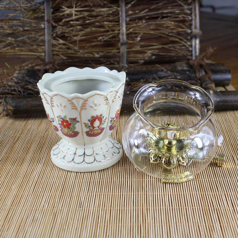 Свечи, Масляные лампы, Масло Будда буддизм поставляет керамического стекла для Будды Легкий ветрозащитный нефти лампы ремесел свет Будды Свеча держатель украшения почта