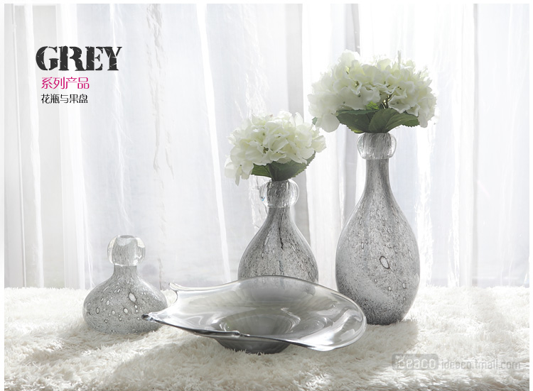Walnutel Grey Large glass vase flower vase home jewelry imitation jewelry new home furnishings crafts going