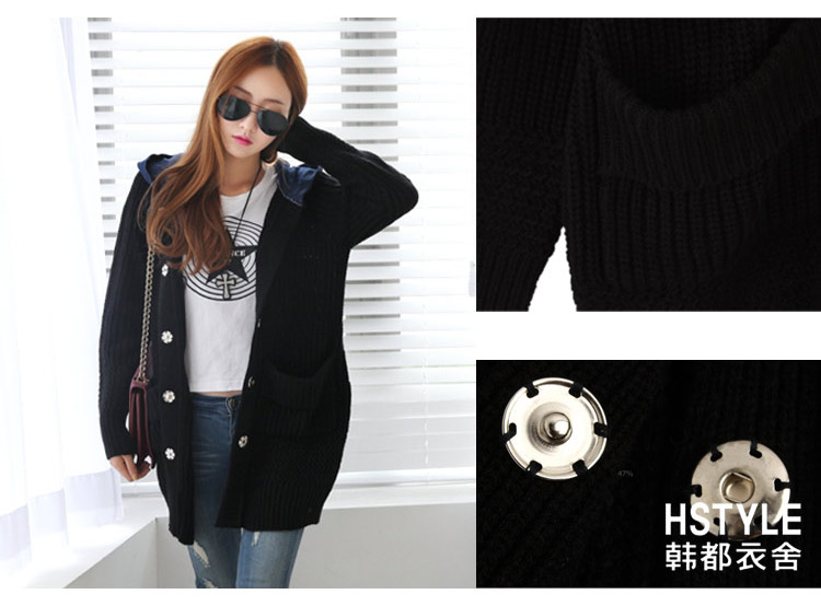 HDYS Acrylic Fabric Single Breasted Knitted Two Tone Long Sleeve Loose Women Sweater