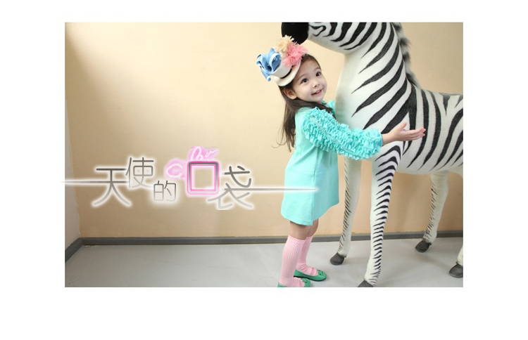 Korean girls children's clothing featured wood ear Angel Pocket long sleeve dress with 2012 autumn girl dress 2 colors