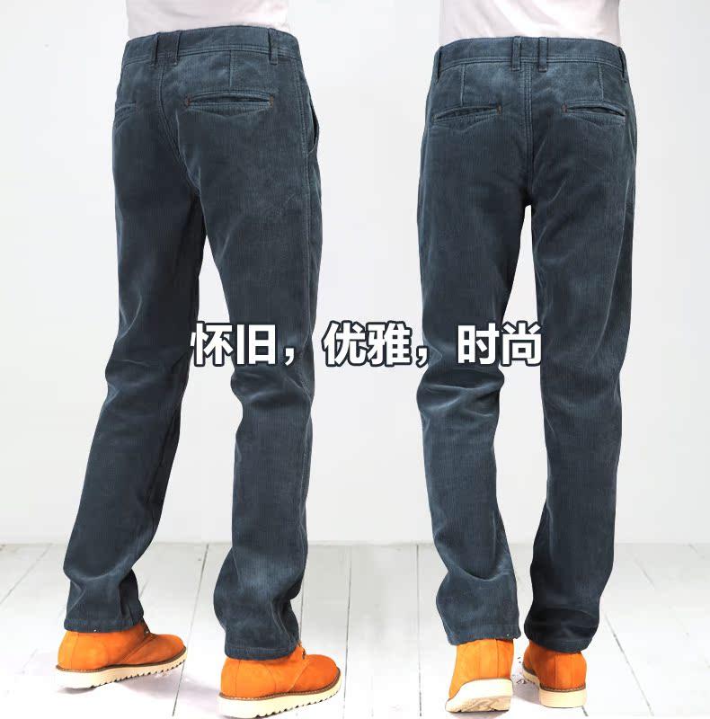 config In autumn and winter plus velvet thicken slacks men's corduroy trousers for men's trousers, sweat pants warm pants fabric