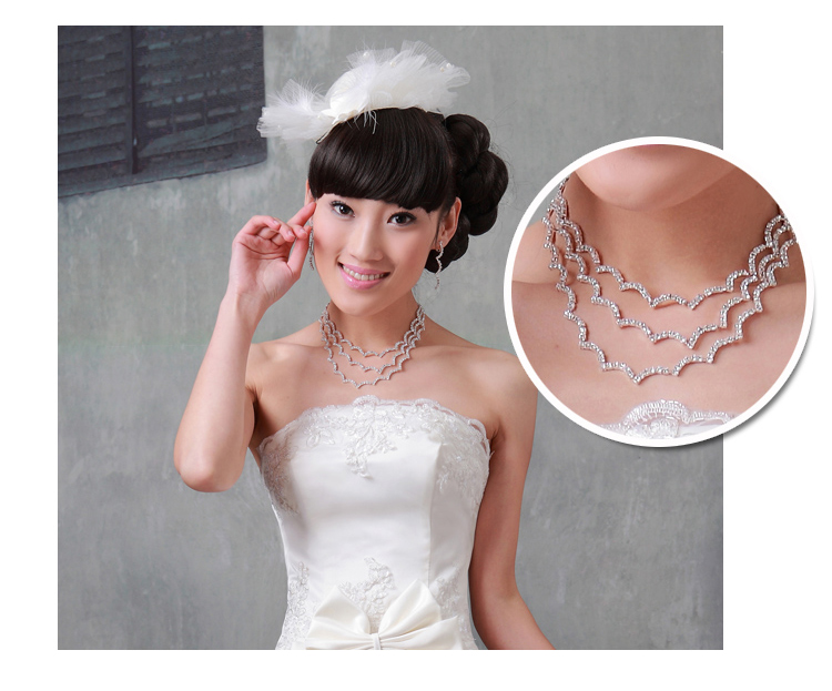 Door of the bride sets of chain jewelry set bridal wedding dress accessories long necklace jewelry accessories 086