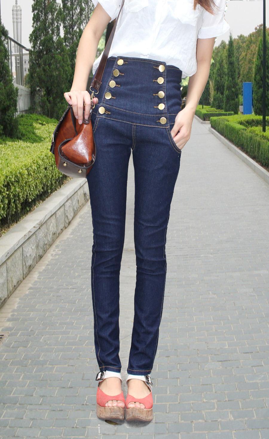 Джинсы женские Электронной почте осенью двубортный ретро высокой талии джинсы женские плюс размер карандаш брюки ноги штаны детей корейской версии тонкий