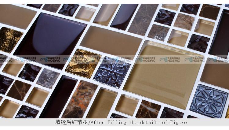 背景墙 拼图/玻璃马赛克石材欧式拼图背景墙镜面瓷砖...