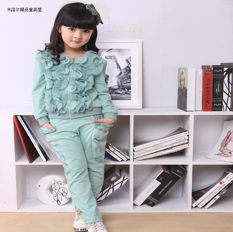 Spring and autumn 2013 new spring loaded cotton children's clothes girls suit autumn two piece lace ladies and children