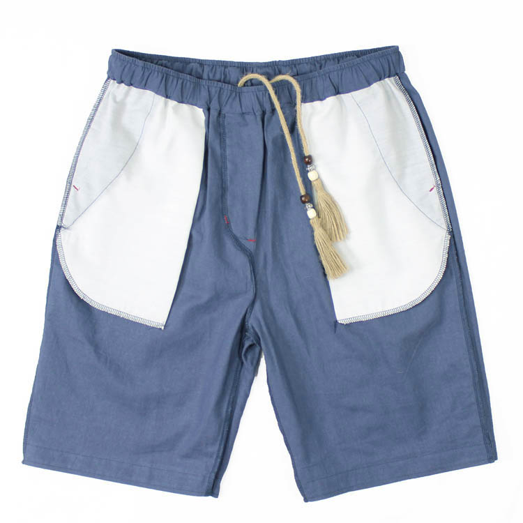 Men casual shorts pants cotton linen large size Japanese Korean candy color tide the pants elastic on the beach five pants