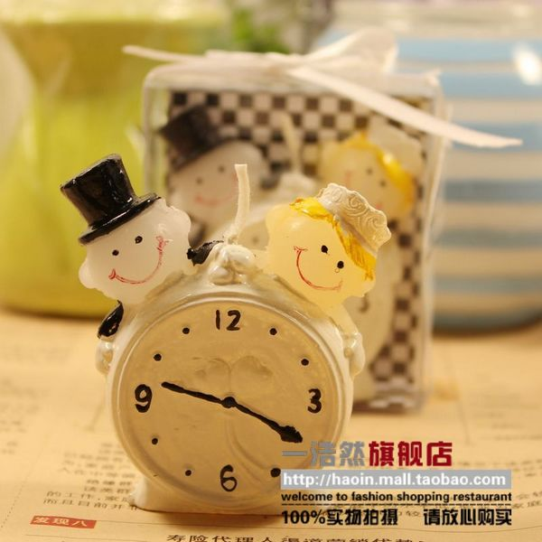 Haoin Valentine candles gift lovers alarm clock candle candle wedding gift him a round wedding candle