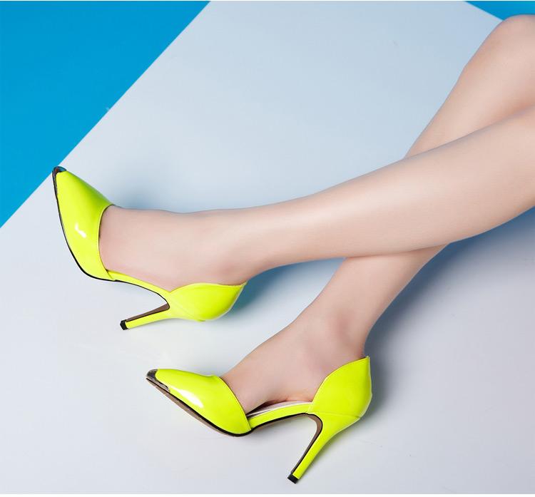 欧美 高跟鞋/卓诗尼2013秋季新款女鞋时尚欧美风漆皮高跟鞋浅口尖头细跟单鞋