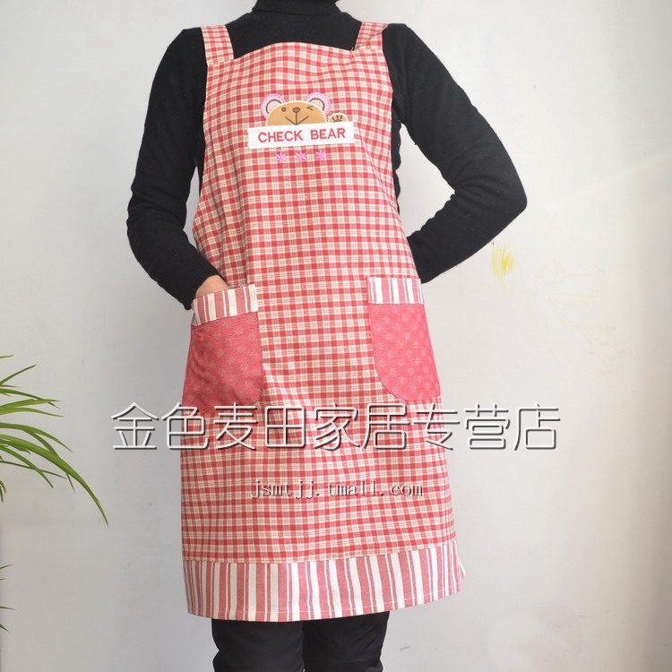 Dian Guan Classic Crown check bears senior Korean cotton thick apron sleeveless apron color optional 2-Pack games