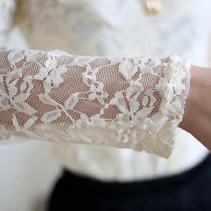 Блузка Осенние украшения кружева Топ длинный рукав кружева рубашки Корейский рубашку t рубашка блузка женщина