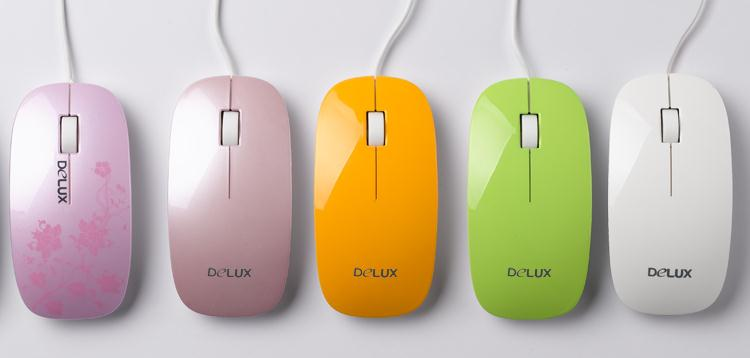 DELUX Delux Desktop Green Pink Limited M111BU Wired Mouse Laptop Mouse