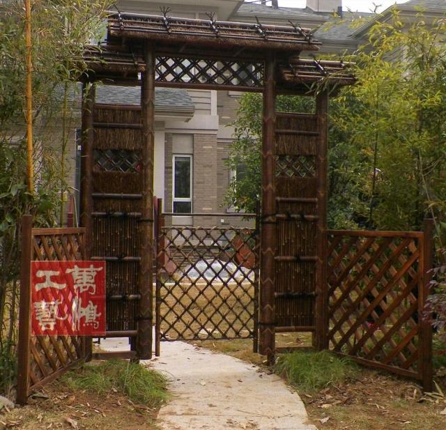 【【归隐】花园别墅门/竹门/庭院别墅门公园景篱笆宽米小的农村十二面图片