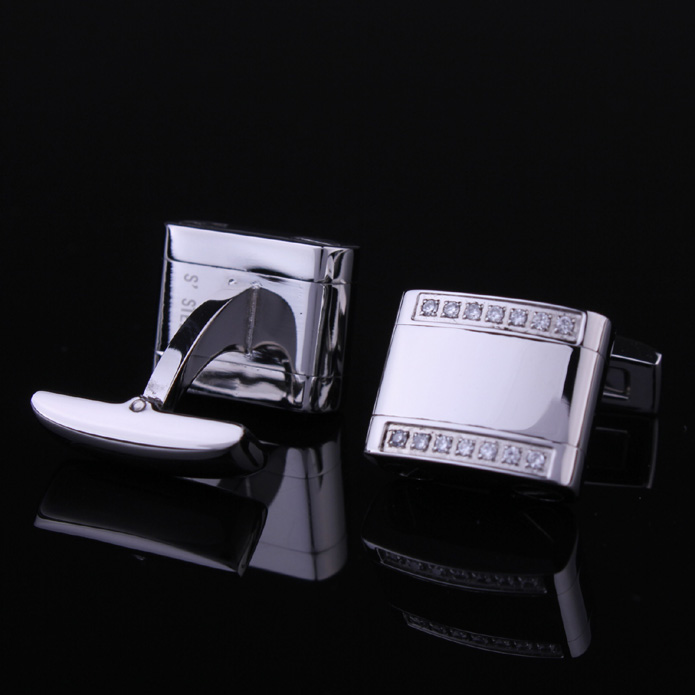 Lesang Hunting is still solid 316 stainless steel with diamonds French shirt cuff black men cufflinks cuff nail genuine
