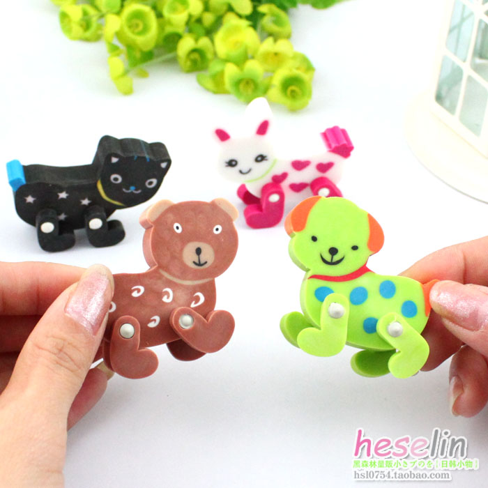 Cartoon Animals Removable Erasers Soft Erasers Corrections 4pcs D28