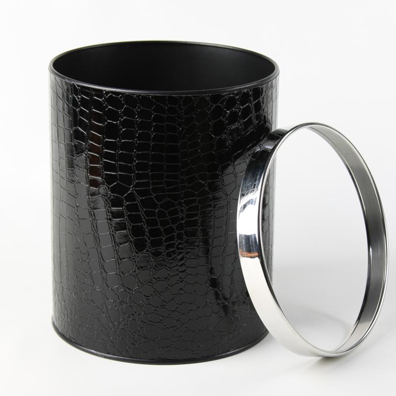 品地现代简约风格黑色红色亮面鳄鱼纹皮质双层铁壳高级垃圾桶27
