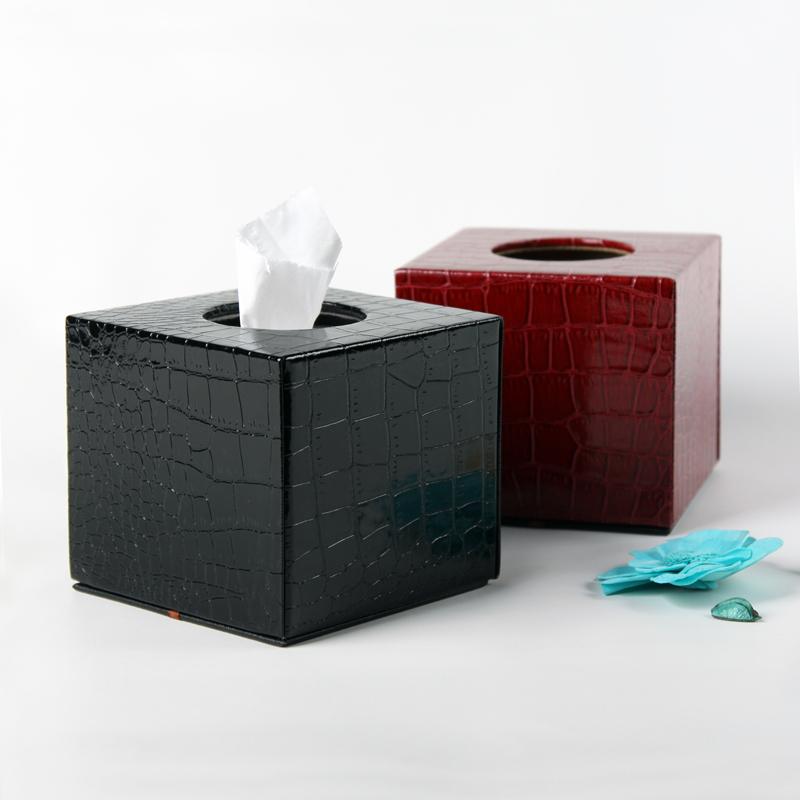 品地现代简约风格黑色红色亮面鳄鱼纹皮质双层铁壳高级垃圾桶14