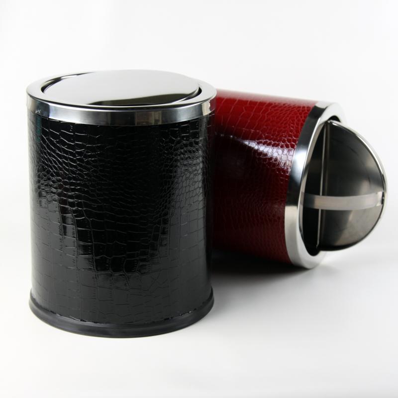 品地现代简约风格黑色红色亮面鳄鱼纹皮质双层铁壳高级垃圾桶25
