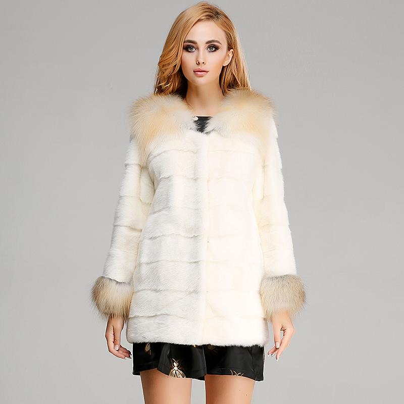 貂皮大衣新款女式中长款整貂 女士水貂毛外套 貉子毛毛领
