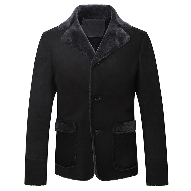 男士秋冬大氣羊羔毛綿羊皮修身黑色皮衣