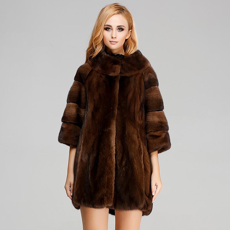 整貂新款 女式中长款貂皮大衣 女士进口水貂外套 七分袖