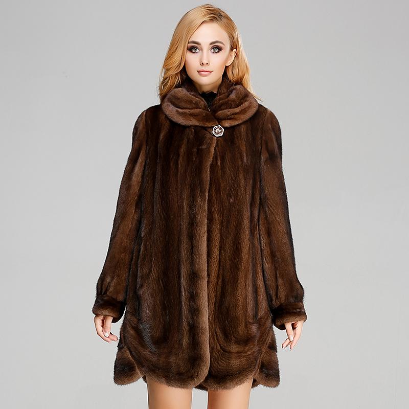 貂皮大衣新款 女士整貂外套 女式中长款水貂女装 翻领