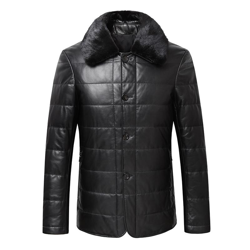 男式短款真皮皮衣 男士绵羊皮外套 新款加棉男装 水貂翻领可脱卸