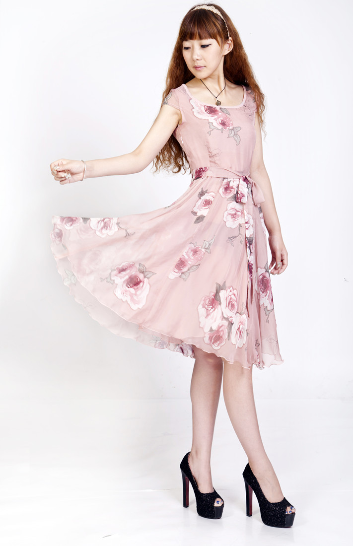 Женское платье Фейерверки жаркое лето zg2013 новый большой сладкий темперамент себя печатных платья с короткими рукавами с дымом