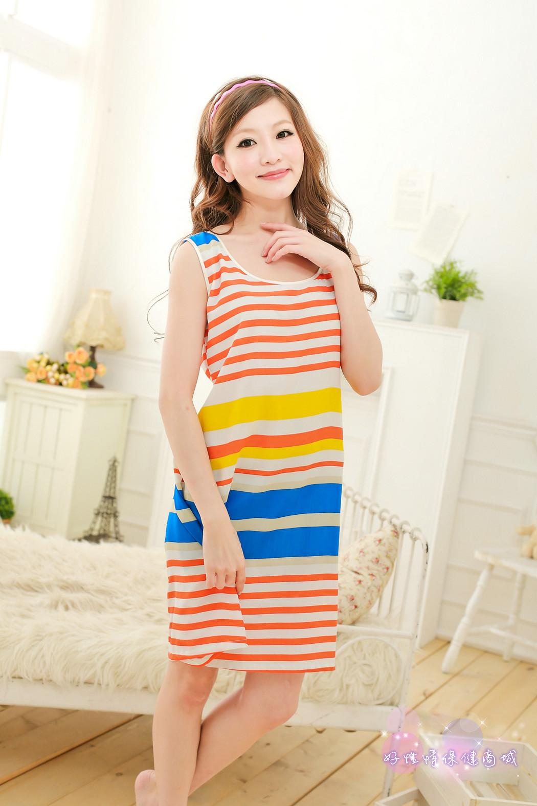 Loose Round Collar Breathable Silk Solid Stripe Pajamas