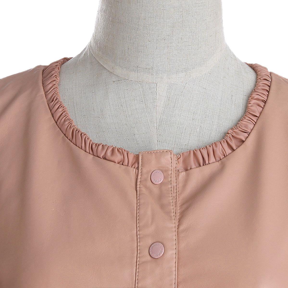 Кожаная куртка Весной и осенью новые воротника темные пряжки короткие слоеного рукава подол нерегулярные ласточкин хвост пальто куртки Pu кожа