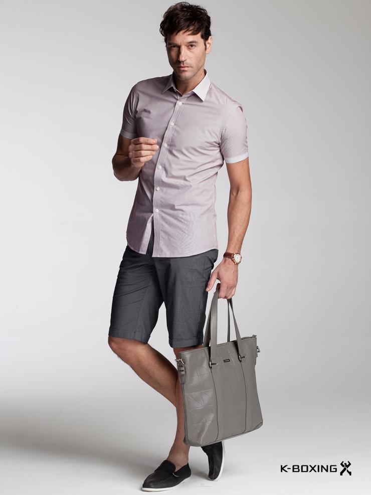 劲霸男装 纯棉 修身 条纹 短袖衬衫 正品 夏装