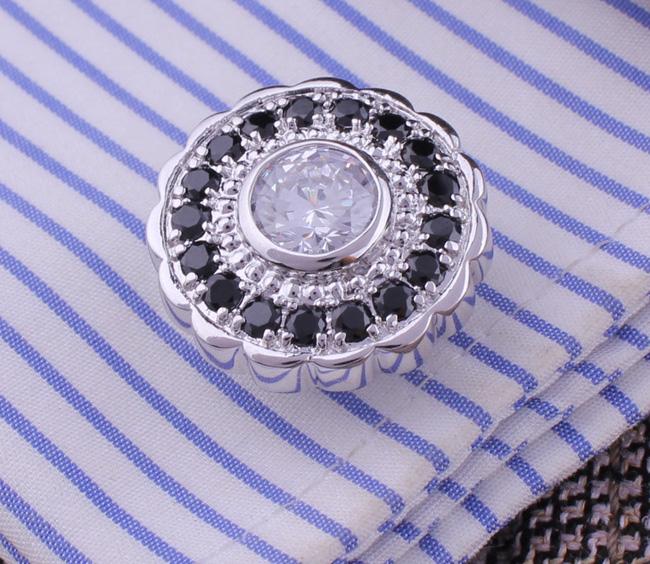 U.S. products are Black and white look round zircon luxury full diamond cufflinks cuff nail nails round cufflinks French shirt cuff