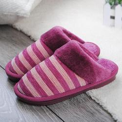冬季居家棉拖鞋亲子条纹拖鞋